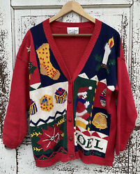 Vintage Red Christmas Sweater Carly St. Claire Womens Size Xl Cardigan Unique