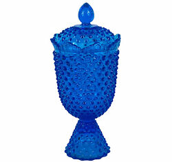 """Vintage Fenton Hobnail Footed Candy Compote Dish Jar W/ Lid Colonial Blue 11""""h"""