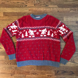 Disney Mickey Mouse Wool Christmas Sweater Red Xl