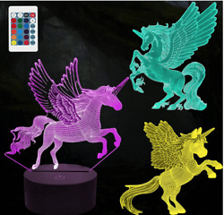 Hongid 3d Unicorn Night Light For Kids3d Illusion Lamp 3-pattern And 16 Colors Aw
