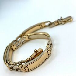 Weighty Well-made 18k Gold 2-tone Id Plate Panel Bracelet 7-7/8 Box Clasp 17g