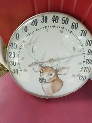 Vintage Original Jumbo Dial Whitetail Buck The Ohio Thermometer Co Made In Usa