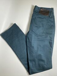 Naked And Famous Denim Jeans 34x36 Skinny Guy Selvedge Green Button Fly