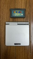 Nintendo Game Boy Advance Gba Sp Platinum Silver System Ags101 W/ Teen Titans 2