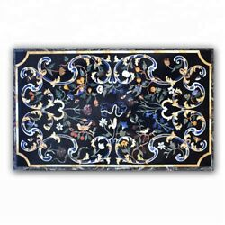 Black Marble Dining Top Table Pietra Dura Floral Inlay Art Home Kitchen Dec B371