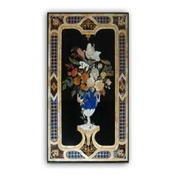 Marble Black Dining Table Top Marquetry Flower Vase Inlay Arts Home Decors B385
