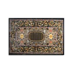 Black Marble Dining Table Top Scagliola Inlay Handmade Art Kitchen Decorate B386