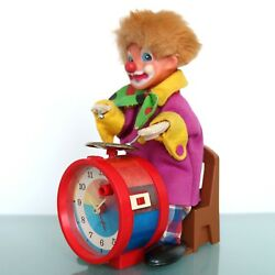 German Carl Alarm Clock 1970s Extremely Rare Motion Clown Animated Moving Sound