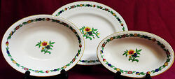 Myott, Son And Co Green Leaf Pattern 1791 - Set Of 3 Oval Serving Platters