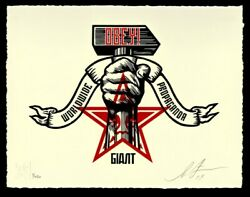 Obey Giant Shepard Fairey Hammer And Fist Art Print Letterpress Xxx/450 Signed