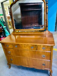 Beautiful Antique Cherry 5 Drawer Dresser With Swing Mirror Original Casters