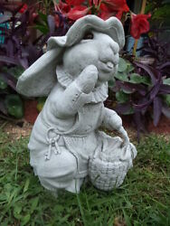BUNNY RABBIT with APRON HAT BASKET CEMENT STATUE PAINTED EYES amp; ANTIQUED WHITE