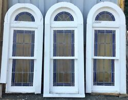Old Vtg Antique Architectural Arched Stained Glass Wood Frame Window Set Of 3