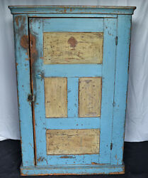 Antique American Blind Front Primitive Cupboard In Early Original Blue Paint