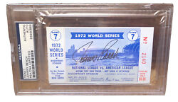Johnny Bench Autographed 1972 World Series Ticket - Psa/dna. Signed Reds