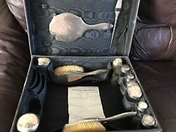 Antique 12 Edwardian Solid Silver Dressing Table Vanity Set Items Boxed Case