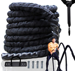 Best Companions 1.5 Inch Black Heavy Battle Rope With Protective Sleeve 100 40