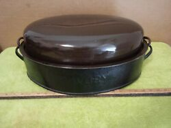 Rare X Large Savory Double Wall Roaster 20 X 12 Blue And Brown Color