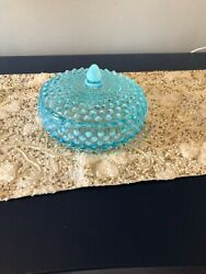 Vintage Fenton Blue Opalescent Hobnail Candy Dish W/cover Rare