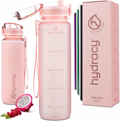 Hydracy Water Bottle With Time Marker - Large 1 Liter 32 Oz Bpa Free Water Bottl