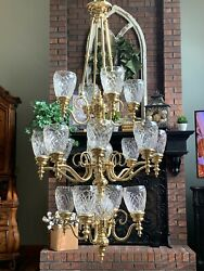 Vintage Solid Brass Chandelier With Crystal Globes