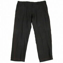 Yohji Yamamoto Pool Om Pour Homme Red Stitch Linen String Wide Pants Black