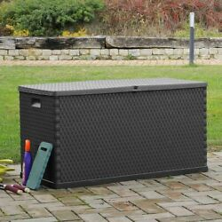 Garden Storage Box Outdoor Plastic Chest Lockable Cushion Shed Toys Tool Storage