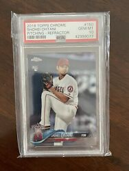 2018 Topps Chrome Shohei Ohtani Rookie Pitching Refractor Psa 10 Gem Mt Rc