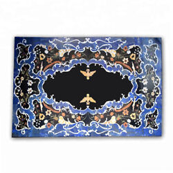 Black Marble Dining Table Top Marquetry Floral Inlay Bird Art Living Decors B405