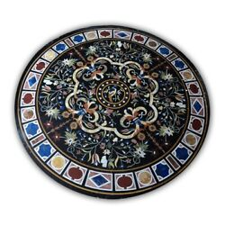 Black Round Marble Dining Table Top Pietra Dura Floral Inlay Art Home Decor B402