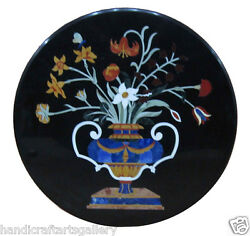 30 Black Marble Coffee Table Precious Flower Vase Floral Inlay Arts Decors H494