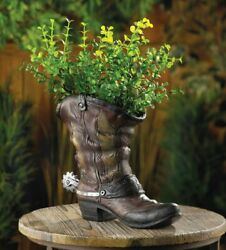 Country Western Cowboy Boot Flowerpot Planter Vase Sculpted Spur Accent Last One