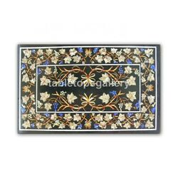 4'x3' Black Marble Dining Table Top Floral Art Lapis Grapes Inlay Home Deco B414