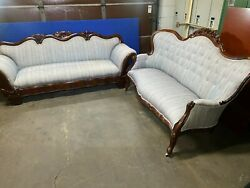 Antique Victorian 1850's Style Matching Sofa Set, Burled Walnut Wood Carved Orig