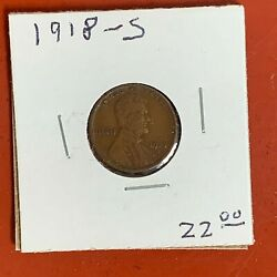 1918 S  Lincoln Wheat Penny Nice Original Better Date