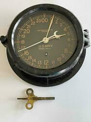Wwii Chelsea Clock Co Us Navy 24 Hr Ship Clock W/key From Coast Guard Cutter