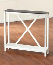 Two-tone White Wood Console Side Skinny Slim Table Farmhouse Country X Design