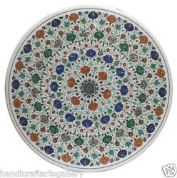 42x42 White Marble Dining Table Top Multi Mosaic Floral Inlay Stone Home Decor