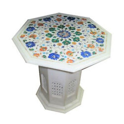 24 White Marble Coffee Table Top With 18 Stand Multi Floral Inlay Decors W046