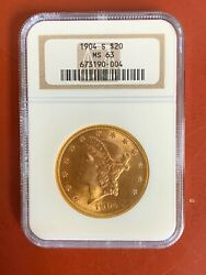 1904-s Gold 20 Liberty Head Coin Ngc Ms 63 Awsome Color