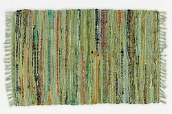 Rag Throw Rug In Sage Green, 2' X 3', Cotton, Great Throw Rug For High Traffic