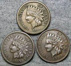 1860 1865 1909 Indian Cent Penny ---- Nice Details Lot ---- S570