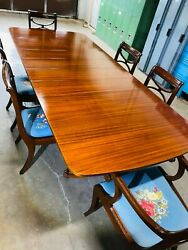 Antique Northern Furniture Company Double Pedestal Cherry Dining Table And Chairs