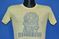Vintage 60s Jethro Tull Stand Up Album Cover Woodcut Yellow T-shirt Small S