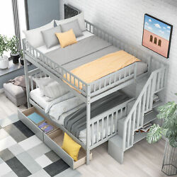 Full Over Full Bunk Bed with Two Drawers and Storage Bedroom Dorm for Kids