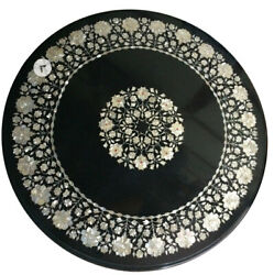 Black Marble Dining Table Top Marquetry Mop Floral Inlay Art Kitchen Decors B468