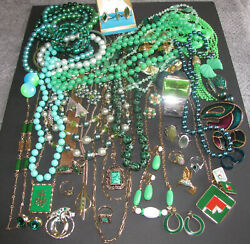 Vintage Costume Jewelry Avon Sarah Coventry Signed Sets Rings 59pc Mixed Green