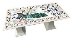 White Marble Dining Table Top Precious Malachite Peacock Floral Inlay Deco W081a