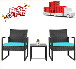 Patio Furniture Cushioned Pe Rattan Bistro Chairs Set Of 2 With Table 3 Piece