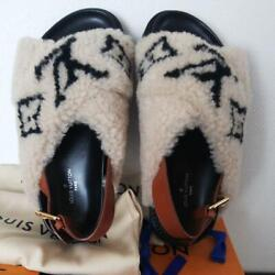 Louis Vuitton Brown Leather White Wool Slingback Slide Eur Size 35 Japan New